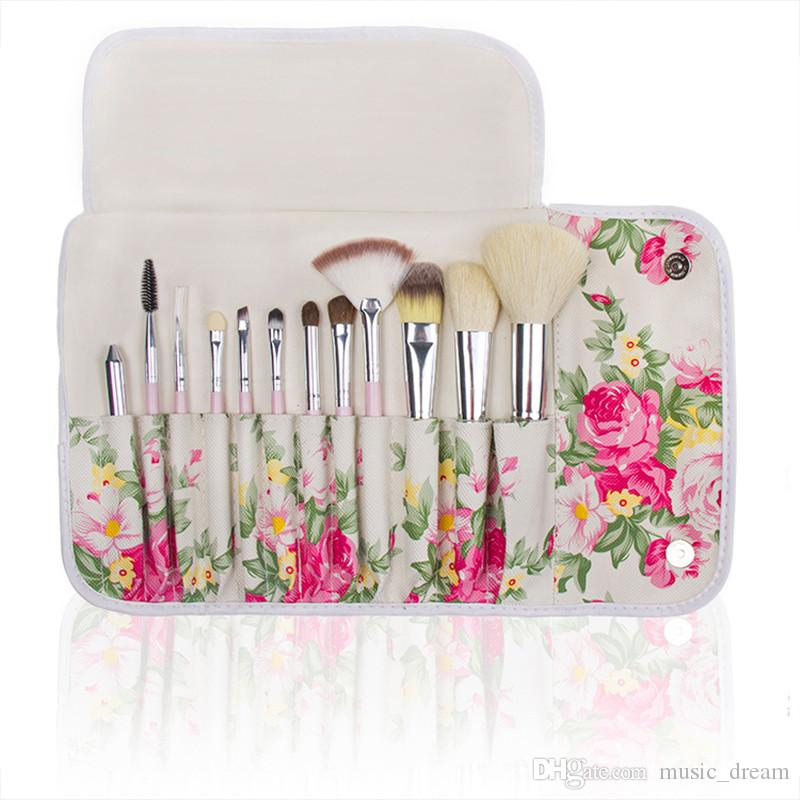 Hot New Makeup brushes makeup brush Professional Brush sets with Rose Printed Pouch Goat hair DHL shipping