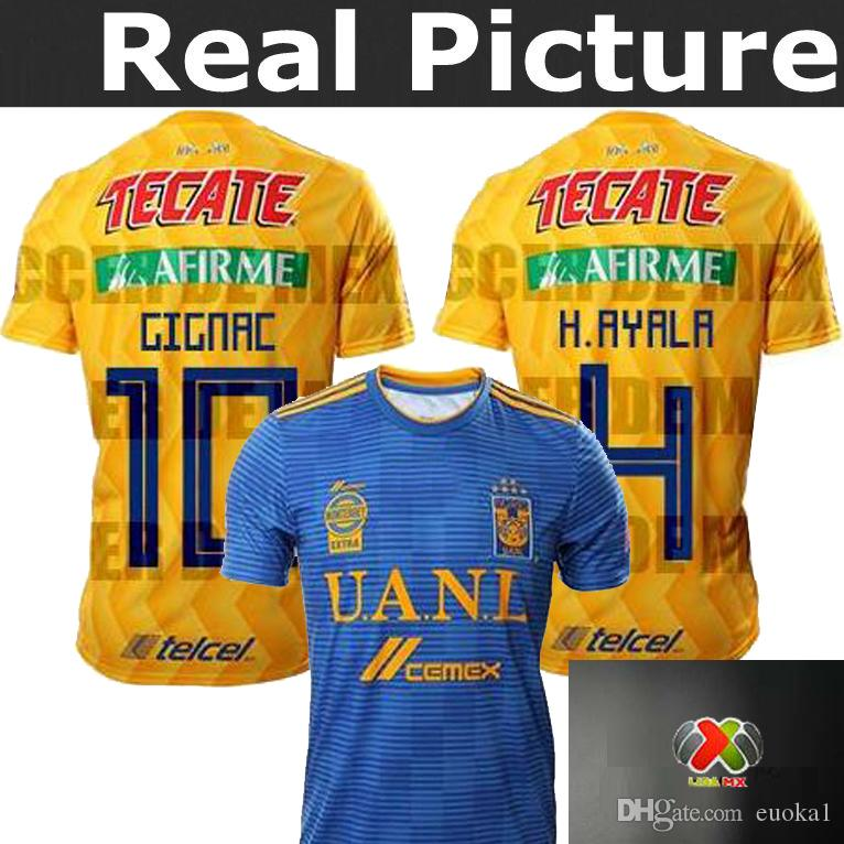 37168850e 2019 Top Best Quality TIGRES Jersey 2018 2019 Home Away 18 19 VALENCIA 13  VARGAS 9 Tigres UANL GIGNAC 10 H.AYALA 4 SOSA 18 Footbl Shirts From Euoka1