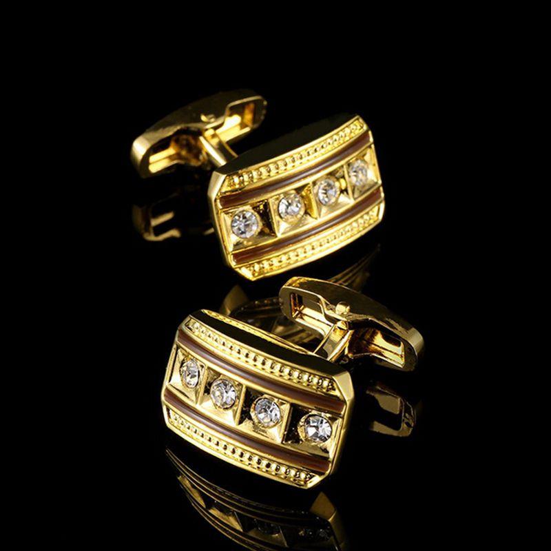 Fashion Male French Shirt Cuff LinksCrystal Golden Silver Luxury Vintage Wedding Mens Cufflinks For Shirt