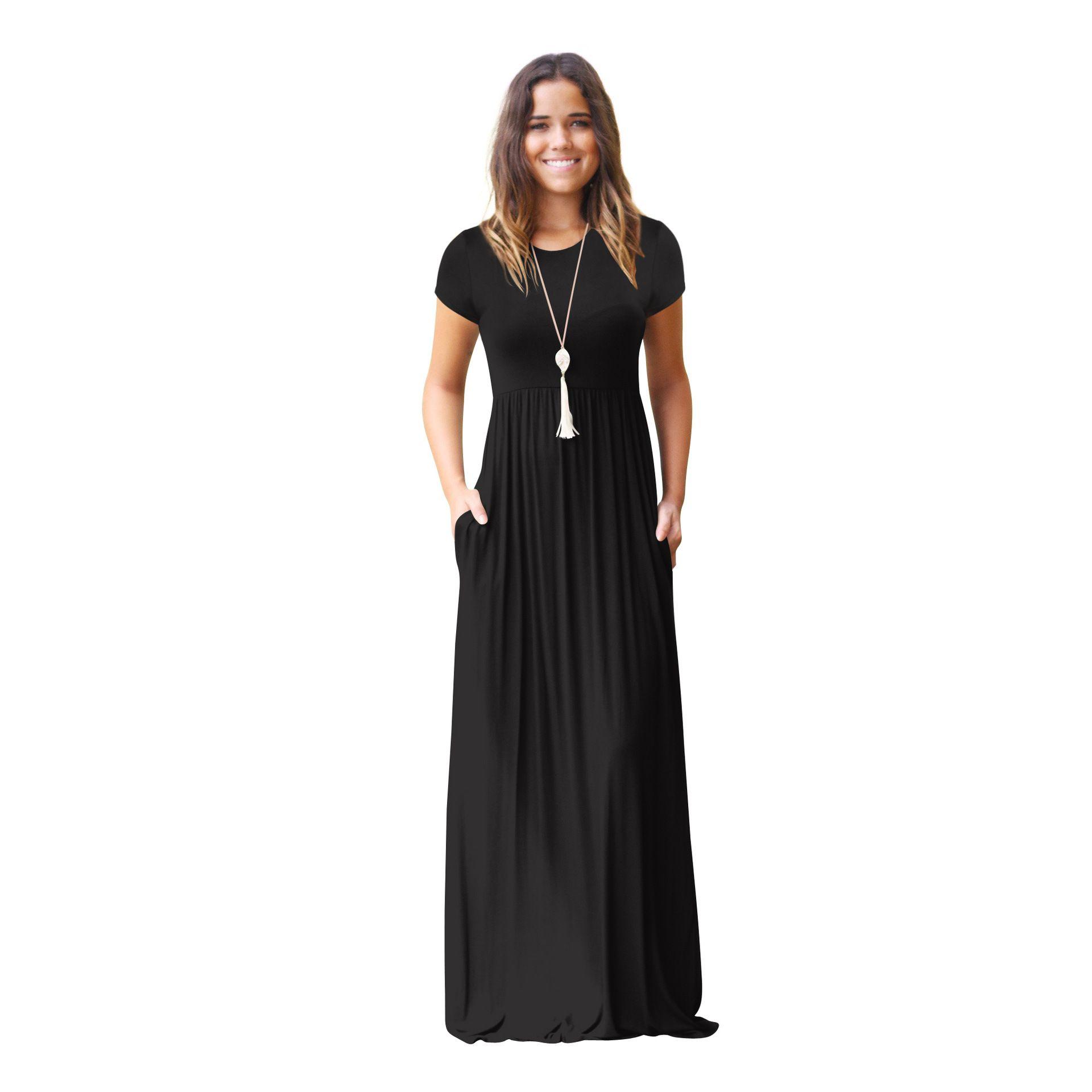 Women's Short Sleeve Maxi Dress with Pockets Plain Loose Swing Casual Floor Length Long Dresses