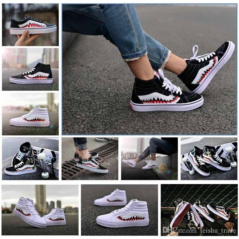 2017 X Sharktooth Custom Sneakers Women And Mens Black White Old Skool  Convas Sport Casual Shoes Comfortable Shoes Discount Shoes From  Feishu trade 0ab878508