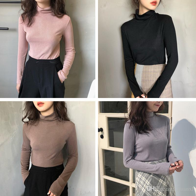 3d28010618 2019 Autumn Winter 2018 Korean Pure Color Joker High Neck Stretch T Shirt  Long Sleeved Blouse Female Thin Style Sweater From Huanxl