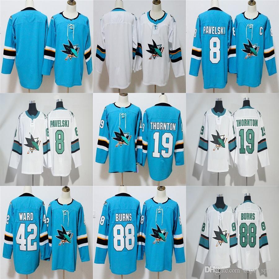 sports shoes 2690e 98918 Factory Outlet Mens Womens Kids San Jose Sharks 8 Joe Pavelski 19 Joe  Thornton 42 Joel Ward 88 Brent Burns Ice Hockey Jerseys