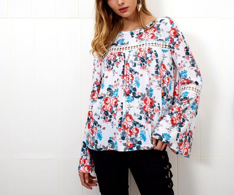 ee6136d949c333 2019 Sexy Floral Print Lace Spliced Blouse Shirt Hollow Out Blouse Blusas  2019 Autumn Casual Women Long Sleeve Blouse Tops Feminina From Feeling04,  ...