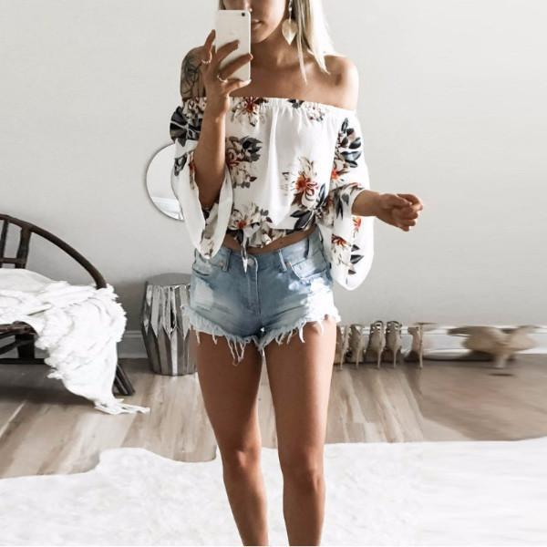 2017 Summer Beach Casual Print Floral Cotton Blouse Shirt Long Flare Sleeve Women Blouses White Backless Off Shoulder Shirts