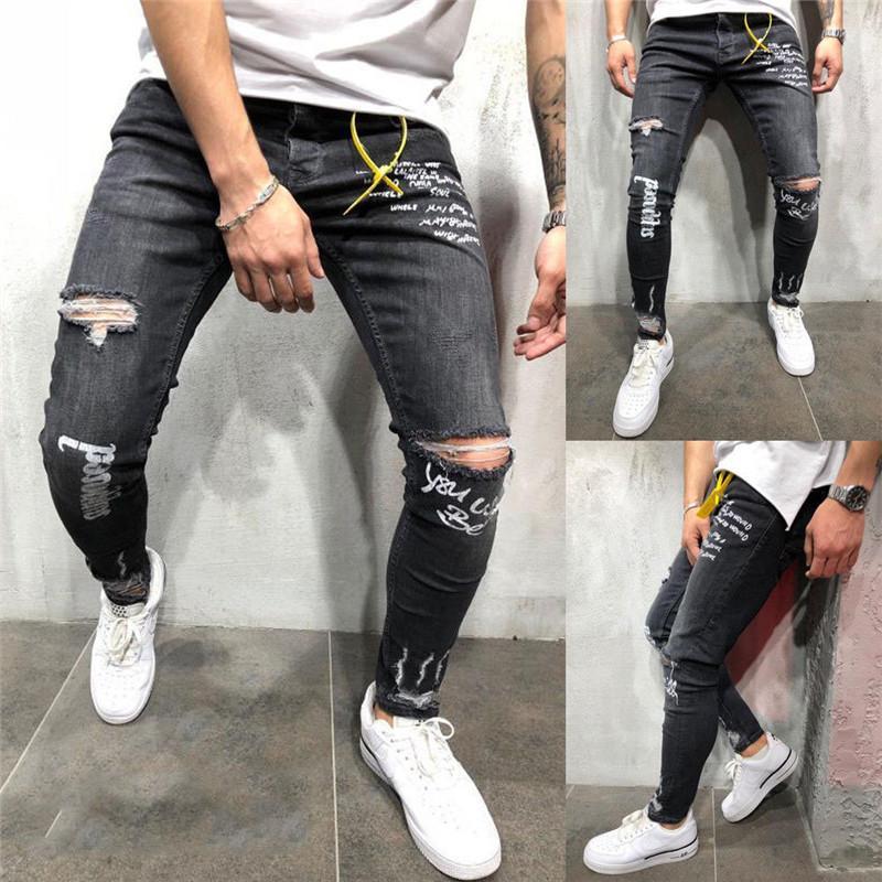 c82b57f10 Fashion Men's Ripped Skinny Biker Jeans Knee Destroyed Frayed Slim Fit  Letters Printed Denim Pant Trousers Trendy Men Streetwear