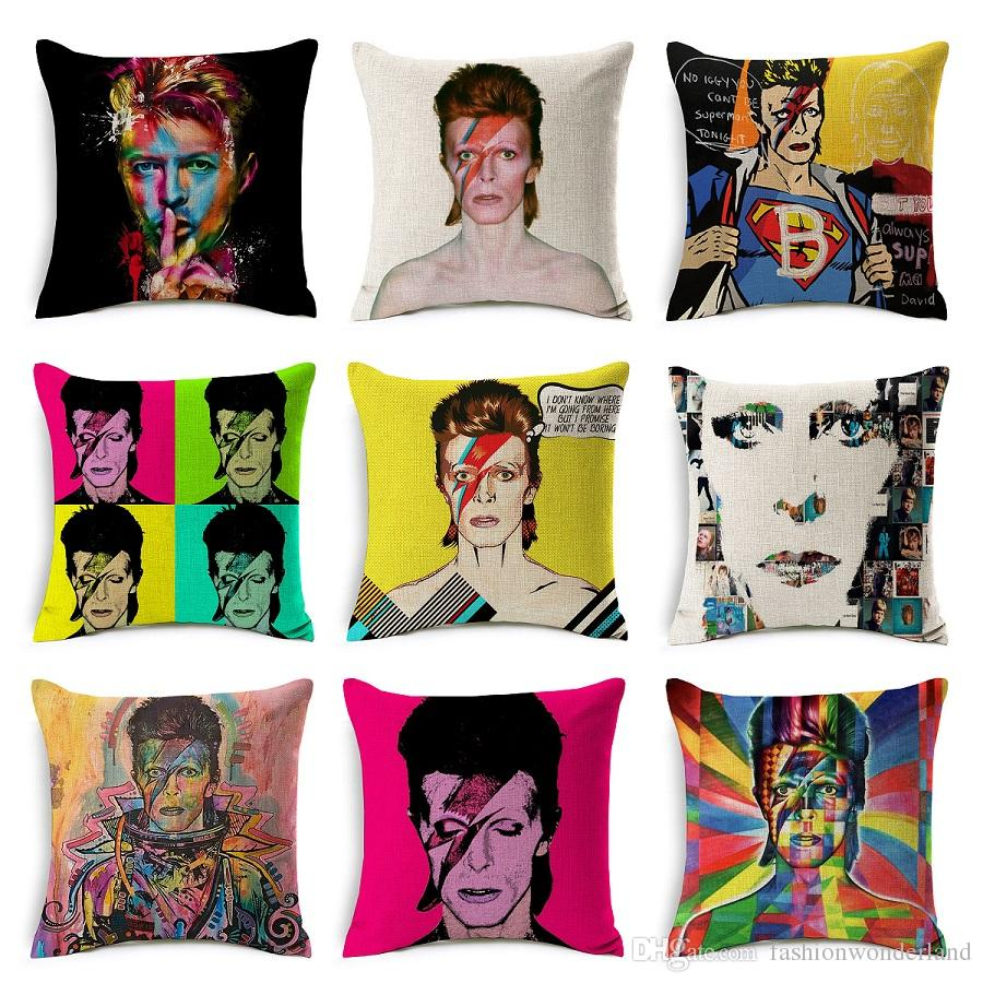 David Bowie Cushion Covers Euroeapn American Rock POP Style Pillow Cover Home Decorative Linen Cotton Pillow Case Bedroom Sofa Decoration