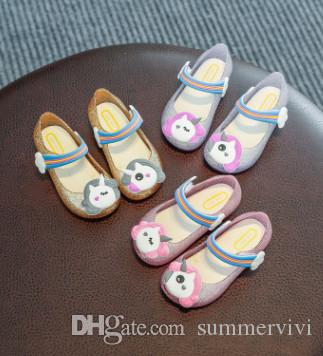 a6fc03cd30 Melissa Cartoon Jelly Shoes Unicorn Children Rainbow Buckles Sandals  Shining Girls Colorful Led Lamp Shoes Kids Soft Bottom Sandals R2837 Shos  For Kids .