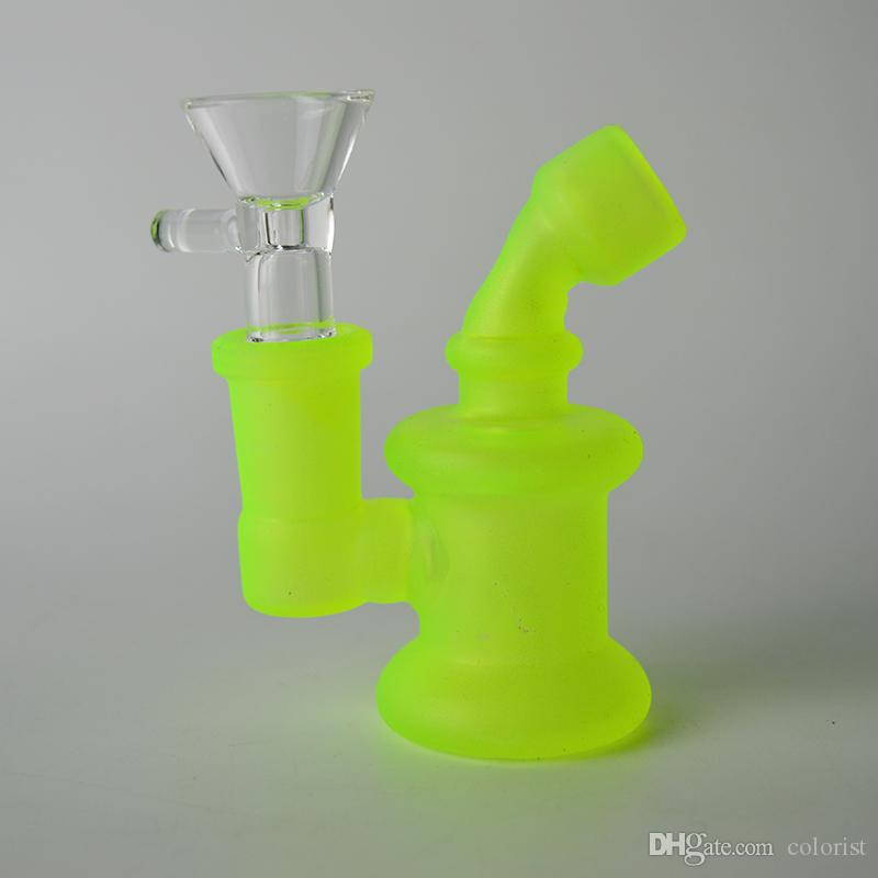 "Glass Bong Water Bongs Oil Rig Recycler Mini Frosted Coating Rig Fluorescent Glow in the Dark Oil Rigs 3.14"" Dab Rigs 14mm Luminous Bubbler"