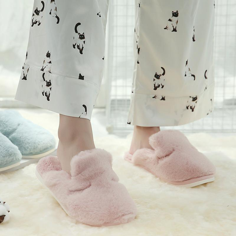 winter warm shoes home fur slippers women Couples slippers men home shoes Indoor Bedroom Loves Couple Floor Shoes pinl