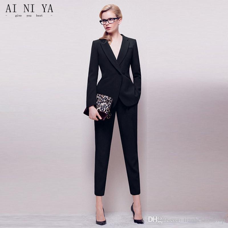 Uniforme Longues Double Des De Costume Femmesveste Ensemble Affaires Manches PantalonÀ Noir Bureau FJ3uT1Klc