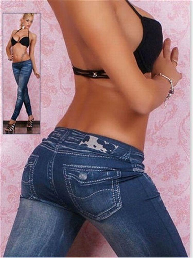 Jeans donna a vita bassa sottile allenamento lungo leggins imitazione denim donna leggings dimagranti TE2418 grigio jean leggings senza cuciture stile YWOM8163