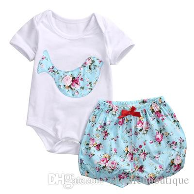 4580259bb 2018 Summer Newborn Baby Clothing Floral Printed Short Sleeve Romper Tops+Short  Pants 2Pcs Sets Outfits Infant Kids Girls Clothes Set 2Style