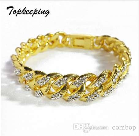 2019 Men Luxury Gold Color Iced Out Rhinestone Fashion Bracelets High  Quality Bangles Miami Cuban Link Chain Bracelet For Hip Hop Boy From  Combop a8674089e066