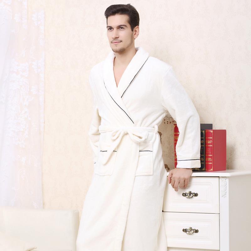 9fe0ca23caeb2 Acheter Kimono Chaud Robe D'hiver Peignoir Hommes Super Doux Flanelle  Corail Polaire Longues Robes De Bain Hommes Kimono Vêtements De Nuit Mâles  De $38.82 ...