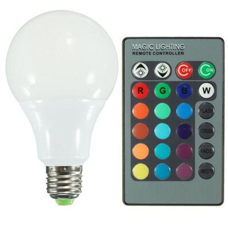 One Set LED Bulb Lamps AC85-265V E27 RGB 16 Color Changing LED Globe Light  Lamp Bulb With 24 Keys Remote Control 10W
