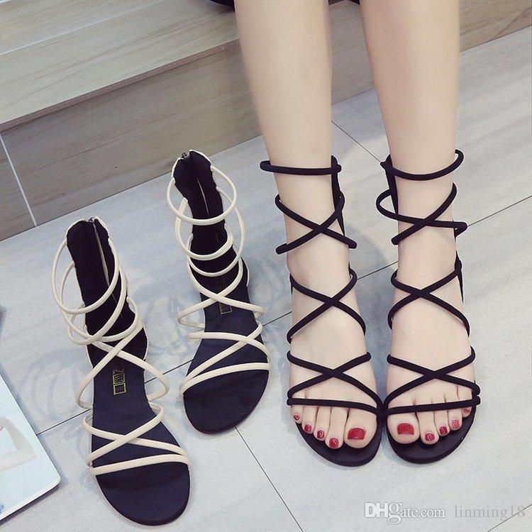 2018 été nouveau confortable plat romain chaussures mode sandale collège vent sangle personnalité chaussures