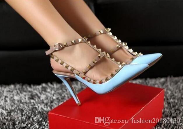 a5e3a0ba081 Fetish Red High Heels Women Designer Shoes Patent Leather Ladies Wedding  Shoes Rivets Gladiator Sandals Sexy Pumps Valentine Shoes Black Pumps Shoes  ...