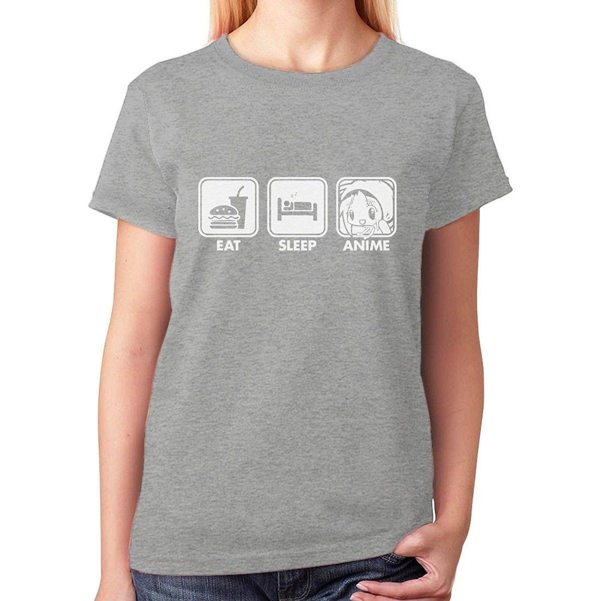 Print Logo On Shirt Womens Eat Sleep Anime Short Sleeve Fashion