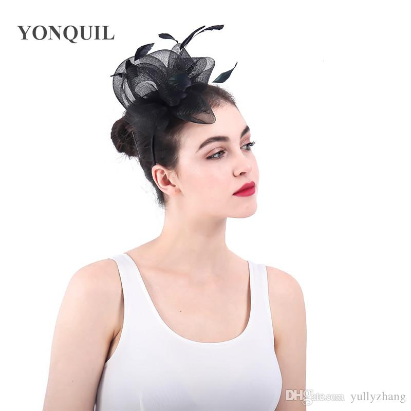 2019 European Style Black Wedding Headwear Fmower Fascinators Headbands  Women Party Race Tea Hair Accessories Bridal Mesh Fedora Caps SYF336 From  Yullyzhang ... bc07fe7d294f