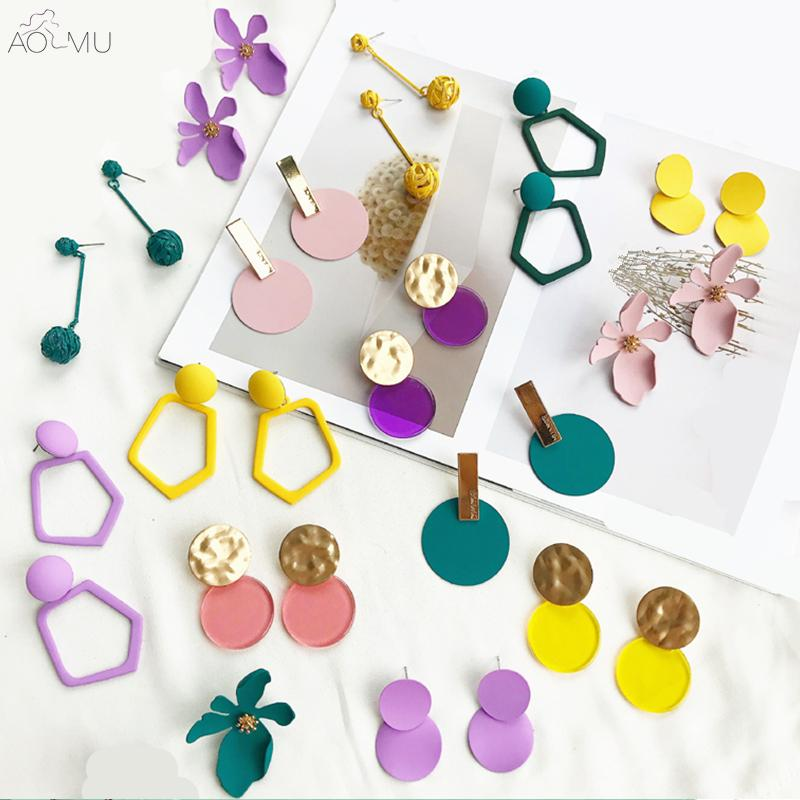 AOMU 2018 New Metal Wire Ball Colorful Acrilico Geometrica Circle Irregular Flower Long Dangle Earrings For Women Girl Brinco