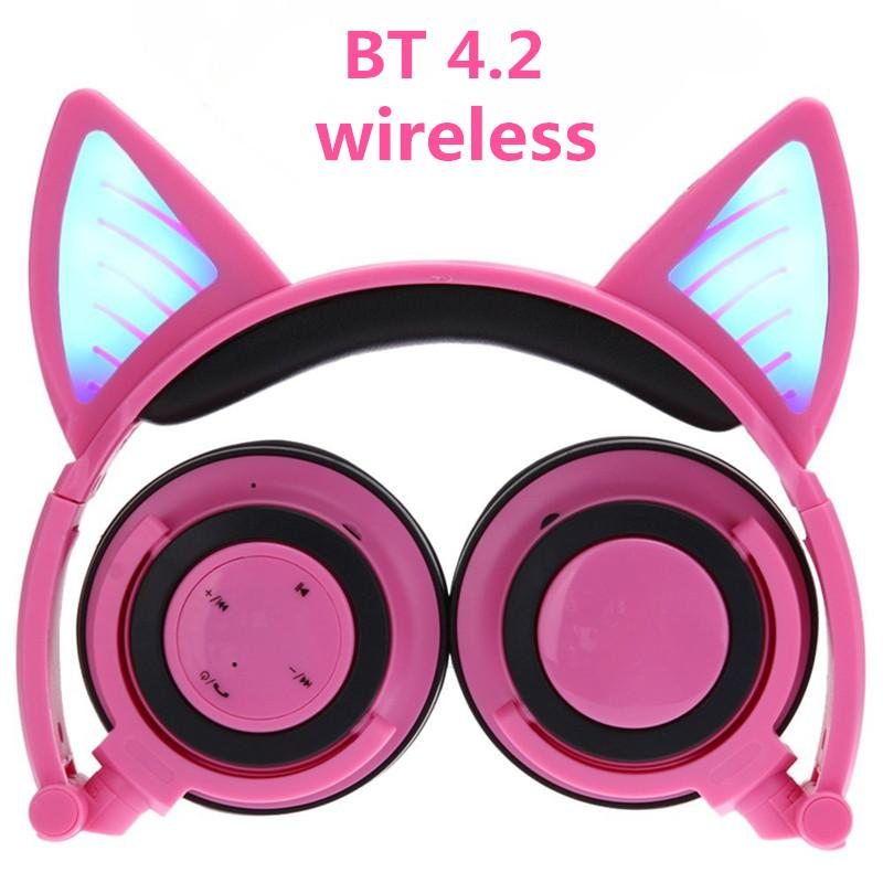30e8d7d632b Wireless Bluetooth Cat Ear Headphones Ihens5 Foldable LED Light Flashing  Glowing Cosplay Fancy Cat Earphone Gift For Kids Phones Wired Cell Phone  Headsets ...