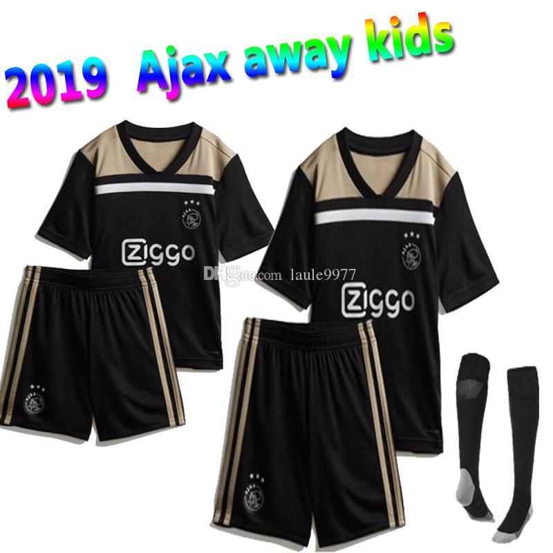 8f1fb0503c1 Kids Kits with Socks 2018 2019 Ajax Away Soccer Jersey KLAASSEN ...