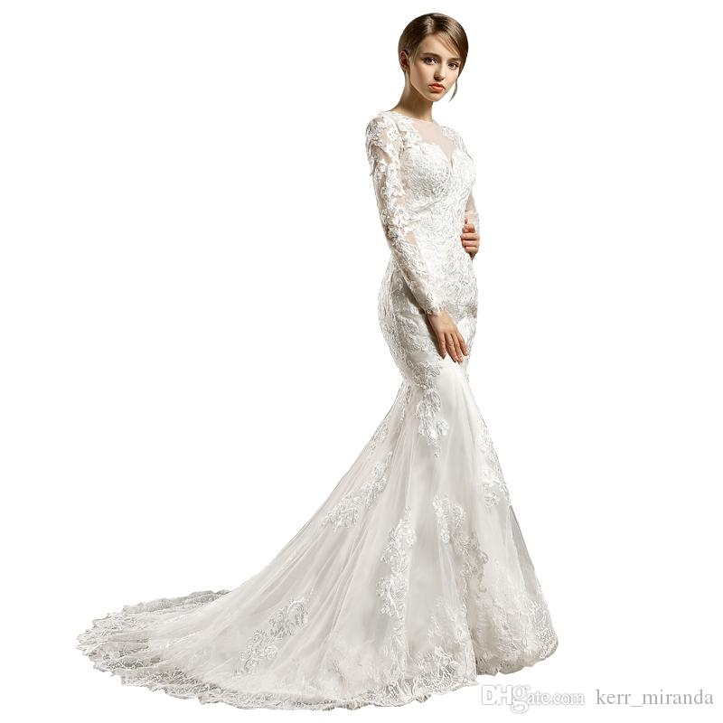 e32f9d28a62 Long Sleeve Appliques Beaded Mermaid Wedding Dresses Illusion Sheer Neck  Lace Style Fish Tail Bridal Wedding GownS DH322 Sexy Dress For Wedding  Short ...
