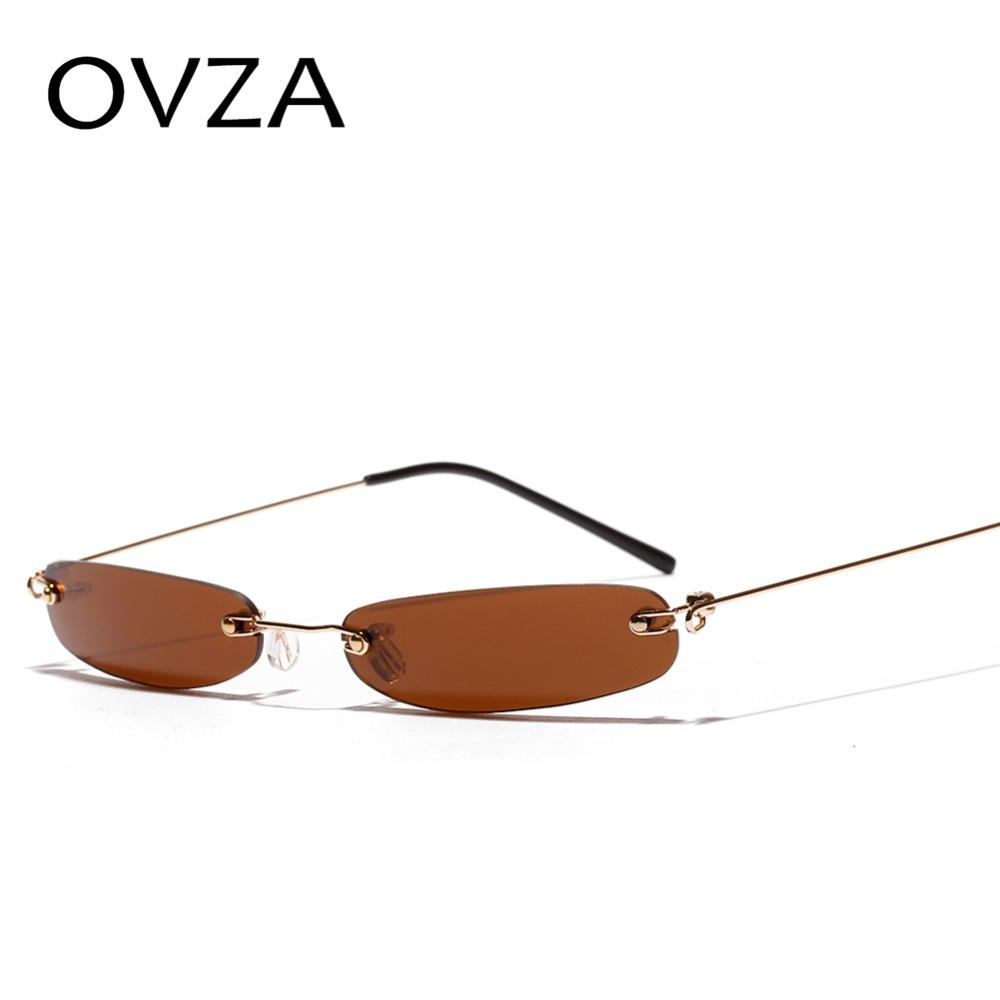 75860cfaf86 OVZA 2018 Retro Ultra Narrow Sunglasses Men Women Punk Style Sunglasses  Brand Designed Rimless Glasses Ultralight Fashion S2021 Smith Sunglasses  Sunglasses ...