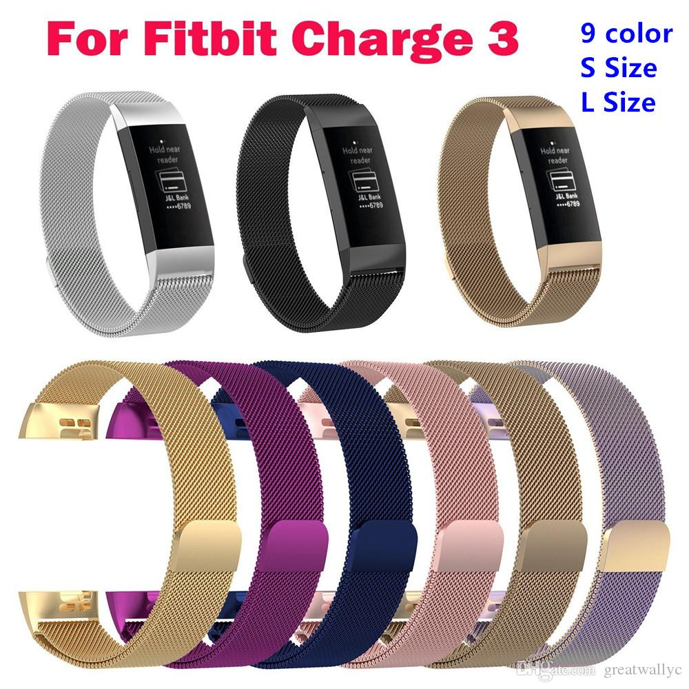 9 Colors Milanese Loop Strap For Fitbit Charge 3 Watch Band Smart Bracelet Stainless Steel Belt Sports Watch Strap Wrist Band