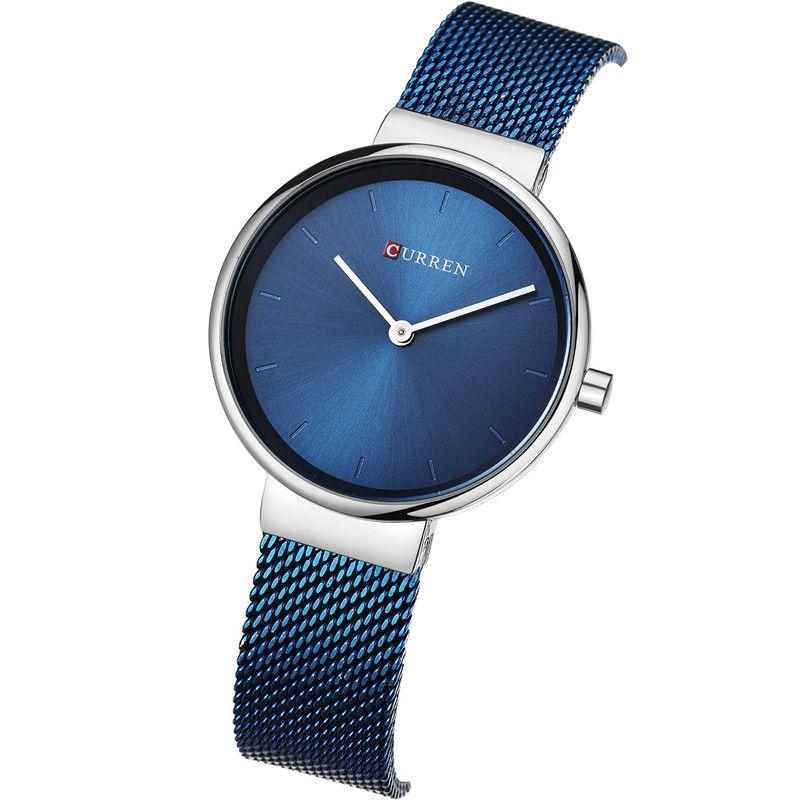 ad585db5335 Compre CURREN Mulher Relógios Top Marca De Luxo Azul Ladies Watch Banda De  Aço Inoxidável Clássico Vestido Pulseira Relógio Feminino Presente Do  Amante 9016 ...