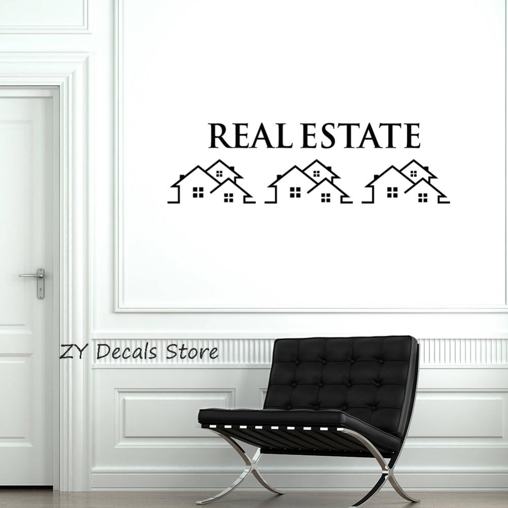 Real estate vinyl wall decal property houses realtor broker sign stickers mural modern wall window decoration mural decals s676 wall decals and stickers