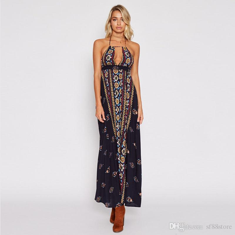 0eb35e4fe4 Summer Bohemian Beach Vacation Dress Sexy Halter Backless Deep V Neck  Ethnic Print Maxi Dress Femal Vestidos Plus Size 2XL Long Sundresses On  Sale Women In ...