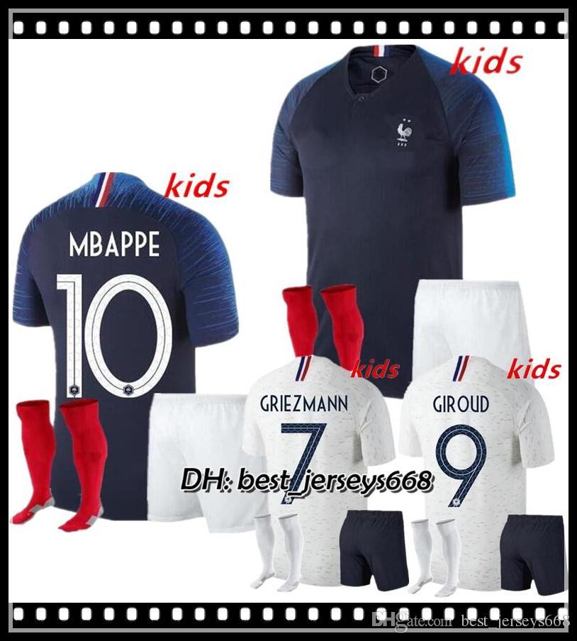 2 Stars Kids Kit 2019 MBAPPE Griezmann FR Soccer Jersey Home Blue PAYET  DEMBELE MBAPPE GRIEZMANN KANTE 18 19 National Team Football Shirts MBAPPE  Jersey ... 54f7f2db2
