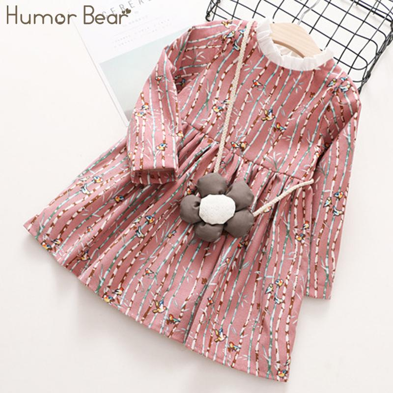 Humor Bear Children Clothes 2018 Autumn Girls Dress Stripe Cartoon + Flowers bag Design Baby Kids Dress Fashion Girls Clothes