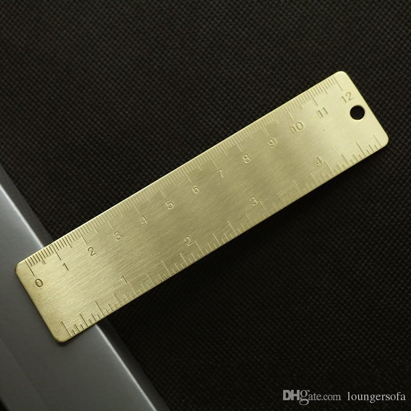 Brass Yellow Ruler Straight Scale EDC Metal Small Range Portable Accurate Double Scales Foraminate Bookmarks Rulers 3zy iiWW