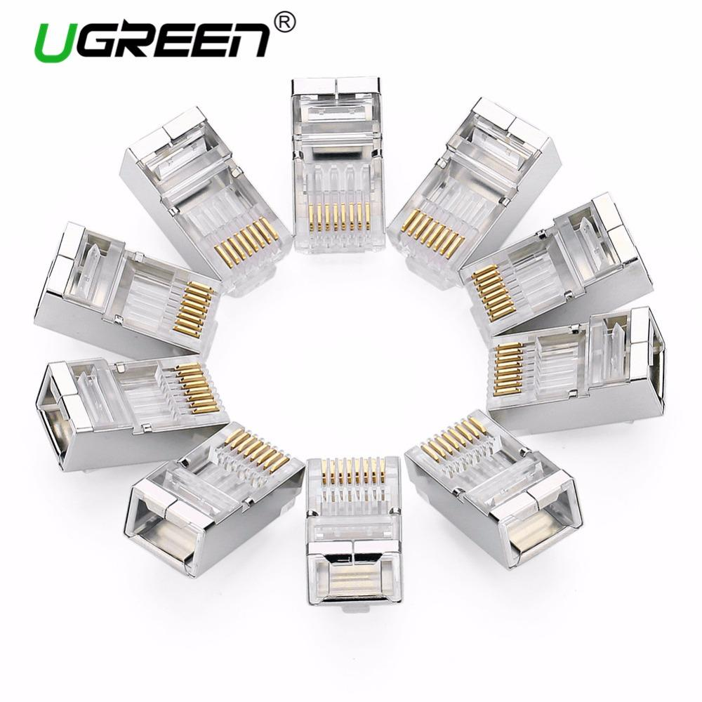 Ugreen Cat6 Rj45 Connector 8p8c Modular Ethernet Cable Head Plug Cat 6 Gold Plated Crimp Network Rj 45 Electronic Cables In Networking