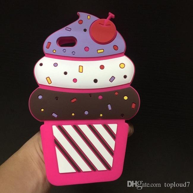 Caso de la cubierta del teléfono del silicón suave de la torta de la cereza de la historieta 3D para el iPhone X 8 7 6S más Samsung S8 más Nota 8