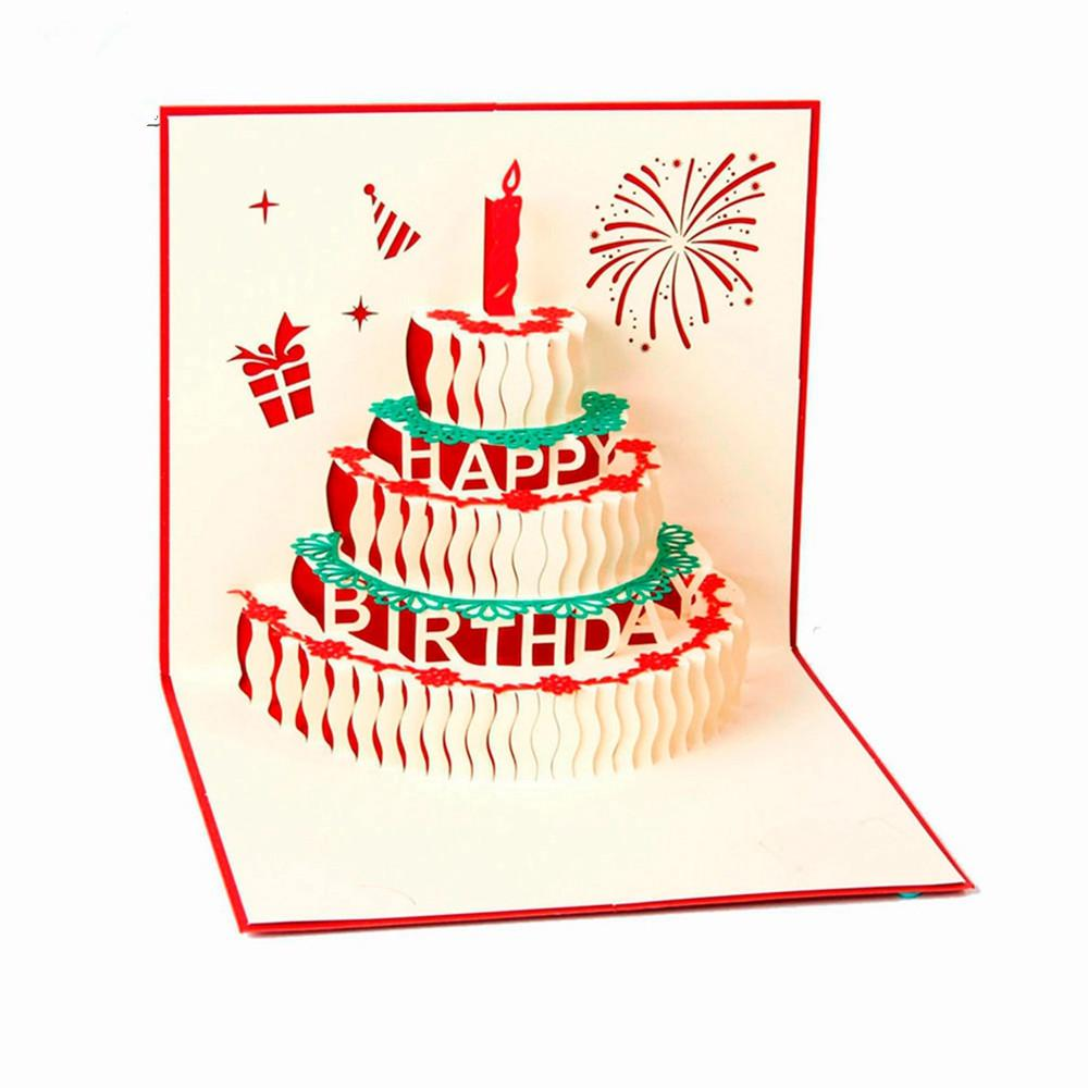 HD 3D Handmade Custom Birthday Invitations Cards Wishes Messages Greeting Gift Postcards Vintage Laser Cut Pop Up Cake Romantic