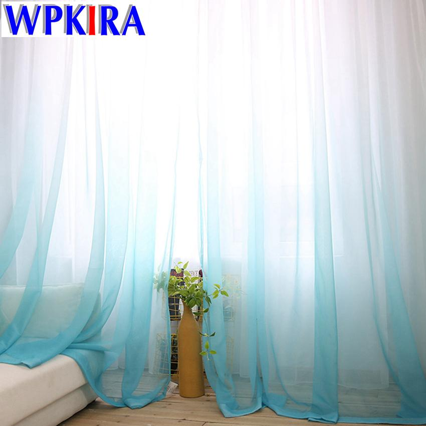 11b0631ae48 2019 American Europe Solid Sheer Blue Voile Gradient Curtains Tulle Fabric  Grey Window Curtain Panels White Tulle Livingroom 30 From Herbertw