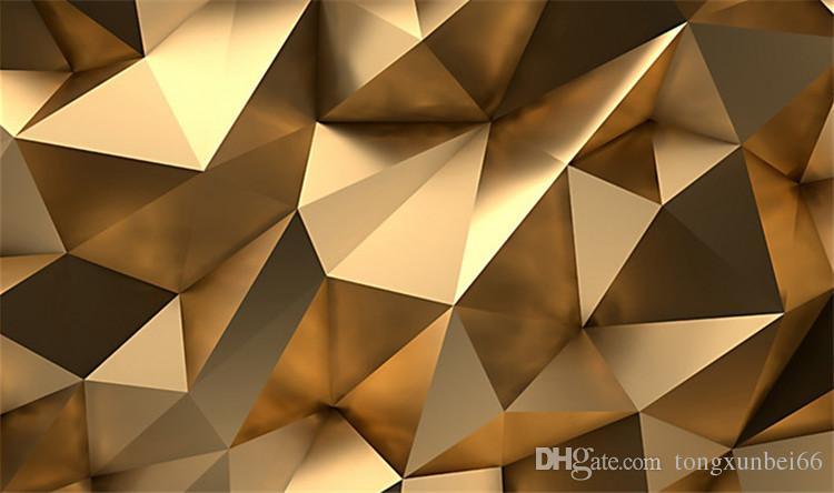 Papel tapiz fotográfico personalizado Estéreo 3D Espacio abstracto Geometría dorada Mural Arte moderno Sala de estar creativa Estudio del hotel Papel de pared 3 D