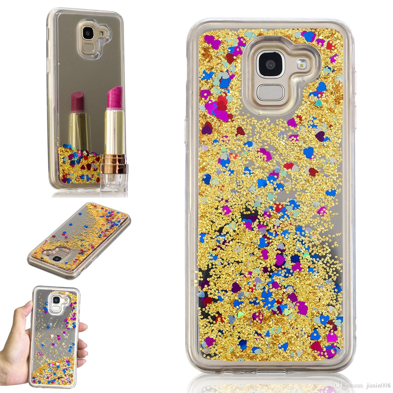 88ca431e994 Protectores De Celulares Personalizados Cubierta Para Samsung Galaxy J6  2018 Caso Quicksand Flash Glitter Powder Mirror Estuches Fundas Para  Teléfonos ...
