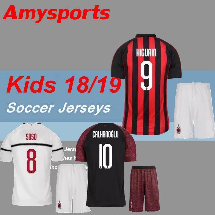 Best 2018 Kids Kit Ac Milan Soccer Jersey Youth Boy Higuain Bakayoko Borini  Kessie Caldara Cutrone . 606e7572e