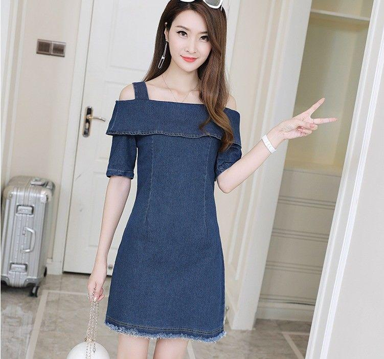 c630f2e229c Sweet Fashion Summer Off-Shoulder Short Sleeve Slim Wrap Hip Denim Jean  Dress Online with  15.93 Piece on Angelsdress s Store