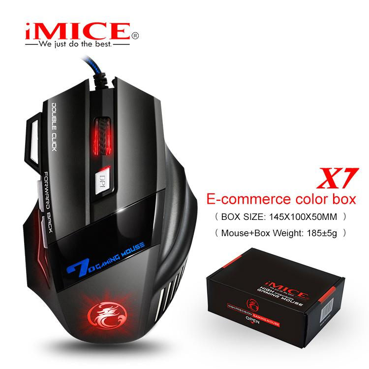 iMice Silent Wired Gaming Mouse Mute 2400DPI Mouse Gamer 7 botones Cable USB Juego óptico Ratones de la computadora para Laptop Video Game X7