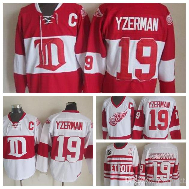timeless design 240b4 444b3 Vintage Detroit Red Wings #19 Steve Yzerman Hockey Jerseys Vintage Winter  Classic Red White Home Red Steve Yzerman Jersey C Patch