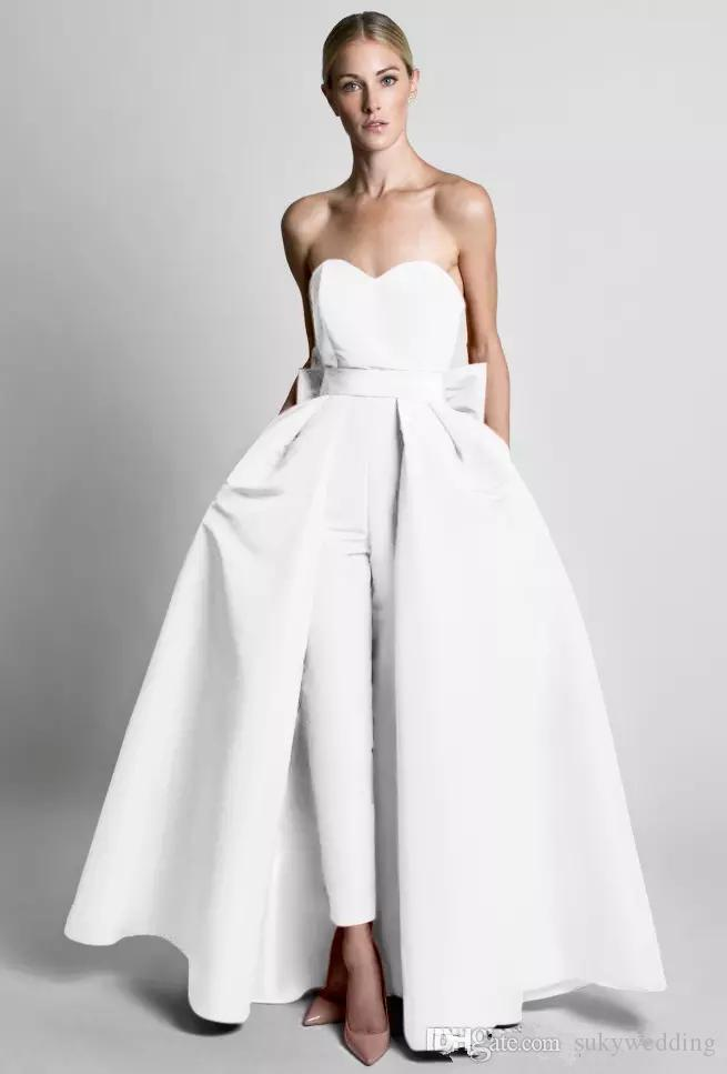 21e4331a610d Krikor Jabotian Jumpsuits Evening Dresses With Detachable Skirt Sweetheart  Prom Gowns Pants For Women Party Dresses Evening Wear Custom Made Couture  Dresses ...