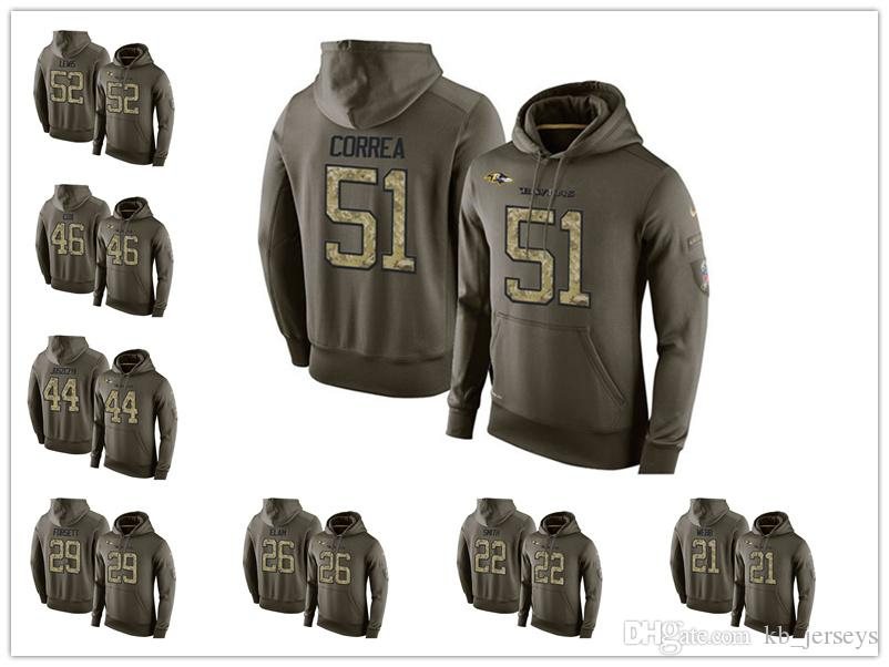 new product 93dc8 715f2 Baltimore Raven Sweatshirt 8 Lamar Jackson 81 Hayden Hurst 55 Terrell Suggs  Men's football Hoodie Olive Salute To Service