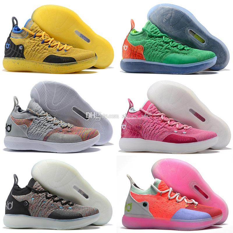 6fe30c6b3e29 2019 2018 New KD 11 BHM Paranoid Home Blue Yellow Kevin Durant XI  Basketball Shoes AAA+Quality 11s KD11 Men Classic Sneakers Size 40 46 From  Shoes inc