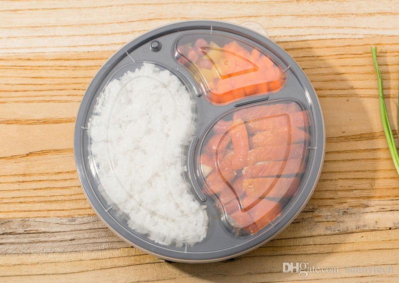 1000 ml Round Meal Prep Recipientes Conjunto Microwavable 3 Departamento de Bento Caixa De Armazenamento De Alimentos Caixas de Almoço Tampas Caso ZA5997